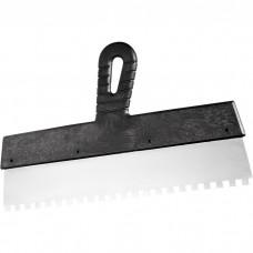 Шпатель из нержавеющей стали, 150 мм, зуб 4 х 4 мм, пластмассовая ручка. СИБРТЕХ