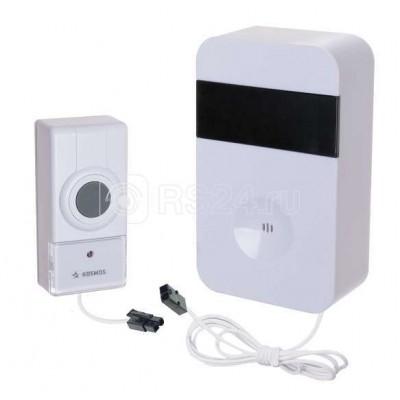 Звонок проводной полиф. 15 мелодий 150м 1 кноп. IP44 бел. (кнопка соединяется кабелем 2м с базой) Космос KOC_AG513C
