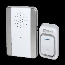 Звонок беспроводной ЗБ-9 25 мелодий с регулировкой звука, подсветкой, 150м  с кнопкой IP44 серебряно-белый IN HOME